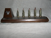 Squirrel Cartridge Board .12 to .22 Walnut display